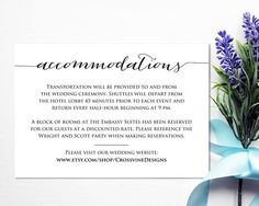 Accommodations Card Template: Instantly download and print your own wedding invitation insert cards.