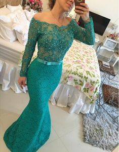 Charming Prom Dress,Long Sleeve Prom Dress,Mermaid Beadings Lace