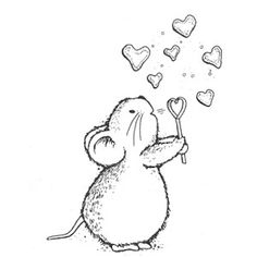 Mouse blowing heart bubbles