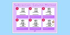 A poster which remind children how to use the formal method of columnar subtraction with 3 digit numbers. Subtraction Activities, Addition And Subtraction, You Tried, Fun Learning, Worksheets, Numbers, Maths, Homework, Poster