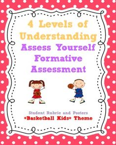FORMATIVE ASSESSMENT Marzano's 4 Levels of Understanding Printable Posters and Student Rubric- Basketball Kids Themes