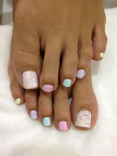 Painted toenails - I like the different colors that all match and come together in the big toe!