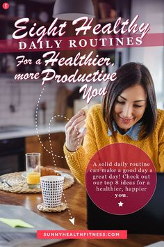 A solid daily routine can make a good day a great day! In this article, I've included 8 healthy daily routines to help you live a healthier, more productive life. #sunnyhealthfitness #dailyroutine #routine #healthyroutine #healthyliving #healthylifestyle Health And Fitness Articles, Health And Wellness, Health Fitness, Full Body Stretch, Balanced Breakfast, Daily Routines, How To Wake Up Early, Good Sleep, Productivity