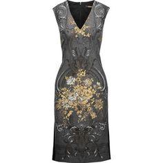 Roberto Cavalli Jersey-paneled metallic printed wool-blend dress