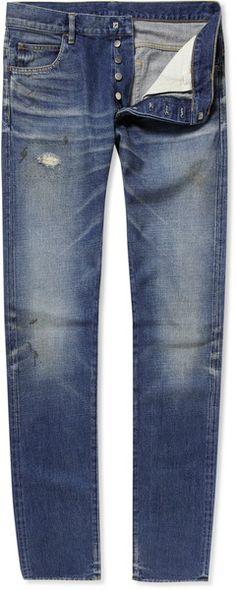 Balmain Blue Distressed Straight-leg Jeans for men Balmain Men, Guy Style, Mens Fashion, Legs, Pants, Blue, Stuff To Buy, Clothes, Moda Masculina