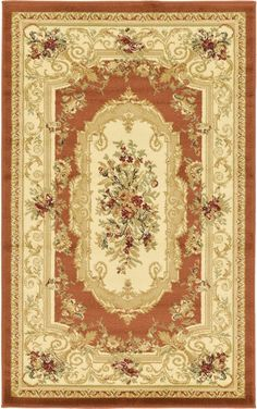 Versailles Brick Red Area Rug