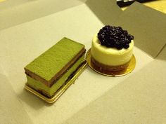 Matcha red bean mousse cake & NY cheese cake with blueberry compote