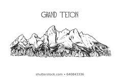 Vector illustration of hand drawn mountain in American Grand Teton National Park. Perfect for travel, sport or spiritual designs. Mountain Outline, Mountain Sketch, Mountain Drawing, Mountain Range Tattoo, Mountain Tattoos, Body Art Tattoos, Small Tattoos, Yearbook Staff, Teton Mountains