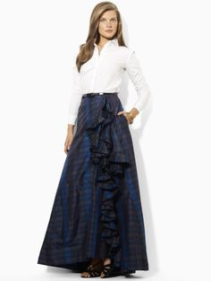 vintage SILK TAFFETA plaid ball gown Maxi Skirt S/M M long ...