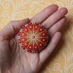 Jewel Drop Mandala Ocean Stones This stone is approximately 5.2 cm in diameter These unique treasures are an absolute joy for me to create. I find these splendid, smooth round stones on beaches and take off where nature left it. The stones have not be altered or shaped by human means