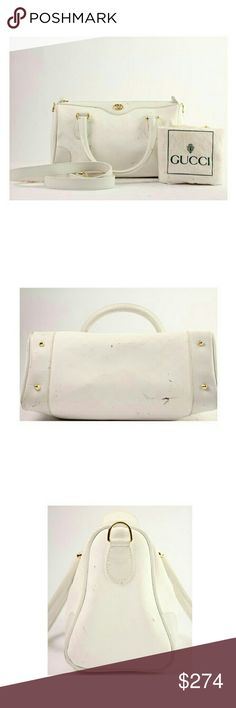 """Gucci  White Boston 2way 118gga104 Satchel"" This item will ship immediately!!  Previously owned.  Date Code: 002.39.0269  Made In: Italy  Measurements: Length: 11"" Width: 4.5"" Height: 6.5""  Handle Drop: 4""  Shoulder strap drop: 12""  Zipper works well. SKU : 118gga104 Gucci Bags Satchels"