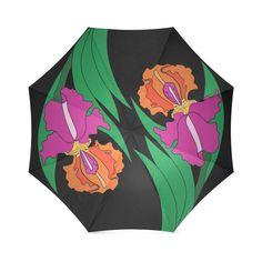 Iris Yin Yang Black Foldable Umbrella