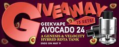 #Giveaway - #Win 15 Sets of #Geekvape #Avocado 24 #RDTA! *http://bit.ly/1TuChAF (copy/paste in browser, without '*')