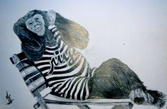 """""""I am sexy and i know it"""" by krispinus yoga 2014.  Pencil on paper  #animal #chimpanzee #realistic #drawing"""