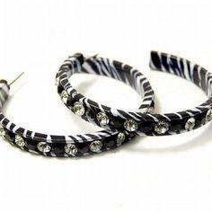 "Black White Zebra Rhinestone 2"" Hoop Earrings Fashion Jewelry: Jewelry: Amazon.com"