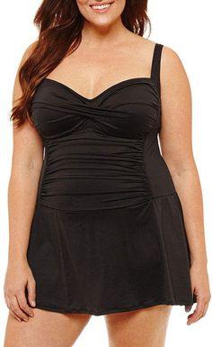 41f909b898fda LIZ CLAIBORNE Liz Claiborne Swim Dress Plus #bathingsuit #swimsuit #skirt # swimwear #
