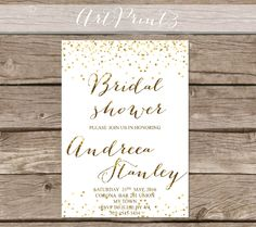 Gold Bridal Shower Invitation Printable, Confetti Bridal Shower Invitation Printable, Gold Confetti Bridal Shower Invite Printable