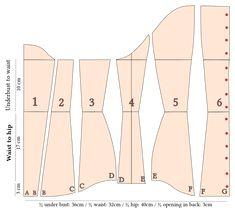 File:Underbust corset - clothing patterns.svg