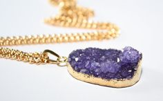 Purple Druzy Necklace Druzy Gold Necklace Purple Crystal Necklace Gift for Her Raw Druzy Necklace