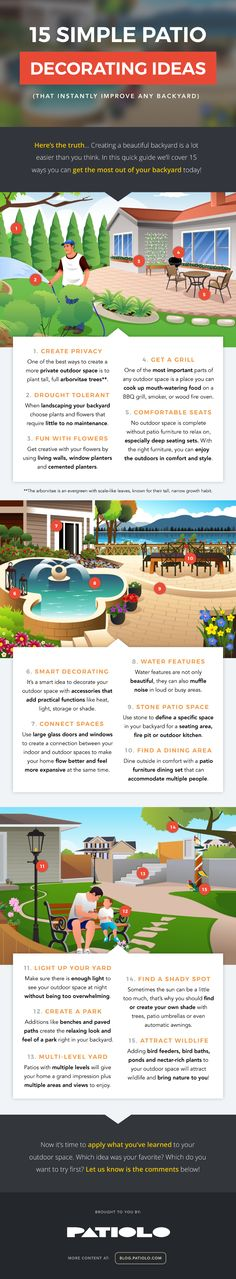 15 Simple Patio #Decorating Ideas Infographic   Patiolo #OutdoorDecor #OutdoorLiving
