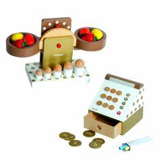 Janod 4506518 - Caja registradora y balanza para mercado de juguete (13 piezas): Amazon.es: Juguetes y juegos