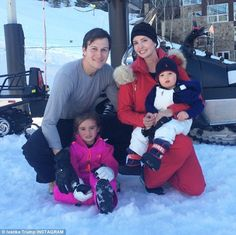 Snow bunnies: Ivanka Trump shared a family photo of her husband Jared Kushner and their two children Arabella and Joseph on her Instagram account on Wednesday