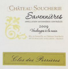 Chateau Soucherie Clos des Perrieres 2009 Savennieres. Yellow/slightly golden. Reasonable level of aromas of green grass/meadow (slight farmyard). Apple/pear drop flavours. Acidity in the length. Not nice aftertaste. Long length. Laithwaites. £21