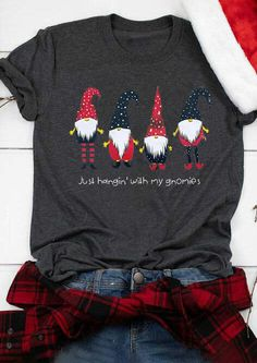 Spend your Christmas in comfort and style in this cute and fun Gnomies t-shirt. Wear this wonderful Christmas tee and enjoy happiness with your family. Our shirts are comfortable and stylish. We use a high quality direct to garment printing process which leaves a permanent image using high-quality inks. These images will not rub, peel, or scratch off. Big Discount and Limited Time ONLY! #christmastops #womensfashiontshirts #womensfashiontosp #womenschristmasfashion #womenschristmastops