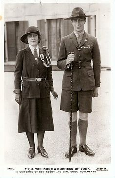 """Duke and Duchess of York as scouts"" by Miss Mertens on Flickr - The Duke and Duchess of York ~ later Queen Elizabeth and King George VI."