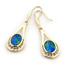 2 stones 8mm x 6mm Oval This 14k Yellow Gold Light Opal Doublet Earrings