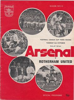 Vintage Football (soccer) Programme - Arsenal v Rotherham United, League Cup, 1972/73 season #football #soccer #arsenal