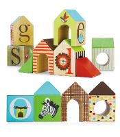 Alphabet Zoo ABC House Blocks   Play, stack, tower and build! Solid wooden blocks encourage toddlers to create a town, complete with roofs, windows and doors. Turn pieces upside-down to nest within one another. Letters and animals help little ones learn the alphabet.