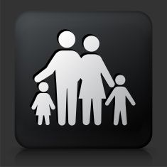 Black Square Button with Family vector art illustration