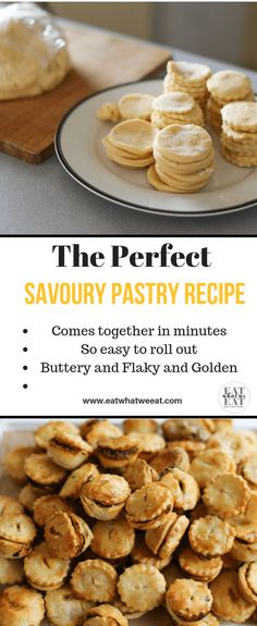 The Perfect Savoury Pastry Recipe: A very easy to make pastry that works a treat, every time! Buttery and bakes up golden brown and flaky. Best Pastry Recipe, Savoury Pastry Recipe, Easy Pastry Recipes, Homemade Pastries, Tea Recipes, High Tea Food, Onion Tart, Easy Party Food, Savory Tart