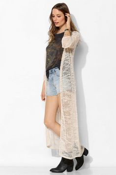 Staring At Stars Mesh-Stitch Maxi Cardigan #urbanoutfitters