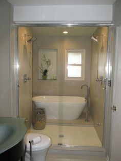 wet room-shower and tub together