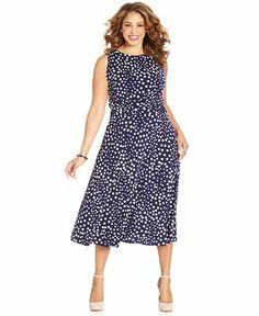 Jessica Howard Plus Size Sleeveless Polka-Dot Midi Dress - Plus Size Dresses - Plus Sizes - Macy's