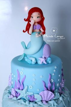 I still love Ariel, ever since I watched the movie many years ago with my daughters! Little Mermaid Cakes, Mermaid Birthday Cakes, Little Mermaid Birthday, Little Mermaid Parties, Ariel Cake, Ocean Cakes, Bolo Minnie, Cute Cakes, Themed Cakes