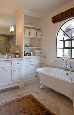 master bathroom - the cabinet is the reason I'm repinning this - and it looks like fun to decorate, and a great storage unit