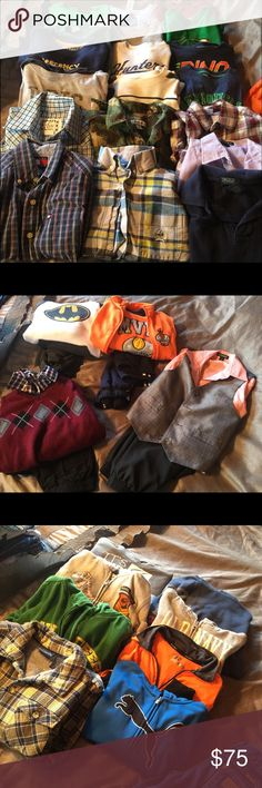 Boys lot size 5/6 A lot of boys clothes size 5/6. 1 pair of wranglers size 6 slim, 19 shirts, 8 hoodies/jackets(Greene John Deere hoodie is missing zipper), 2 Sweat outfits, 2 dress outfits, and a rain jacket. Shirts & Tops