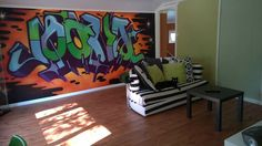 This room belongs to my son, he is a teenager. The cool graffiti on the wall is made by Jouni Väänänen, a talented artist.