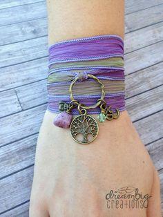 Intuition Silk Wrap Yoga Bracelet - buddha karma ohm zen Namaste peace necklace or bracelet gift meditation