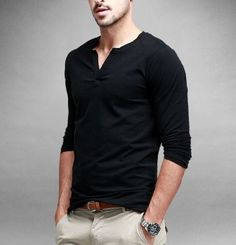 Mens-V-neck-T-shirt-Long-sleeve-Casual-Tee-Cotton-Slim-Fitted-Solid-M-Black