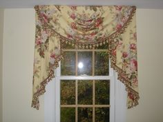 Traditional swag and jabot Cornices, Valances, Drapes Curtains, Drapery, Window Swags, Custom Pillows, Window Treatments, Dining Room, Windows