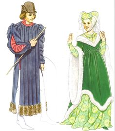 1350 The man wears a blue tappert with padded shoulders and slashed sleeves. His hose are particolored white and light blue. The woman wears a rolled and padded hennin worn over a caul and draped with a veil. Her surcoat is worn Medieval Costume, Medieval Dress, Medieval Clothing, Historical Costume, Historical Clothing, Los Tudor, Middle Age Fashion, Late Middle Ages, Medieval Life