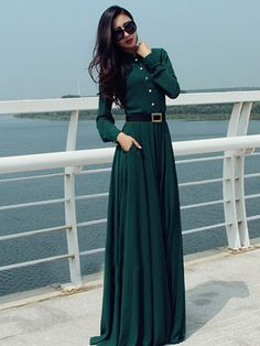 Casual Buttons Long Sleeve Beach Party Chiffon Dress