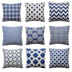Navy Dark Blue Geometric Cushion Cover Damask Greek Key Dots Chevron Pillow