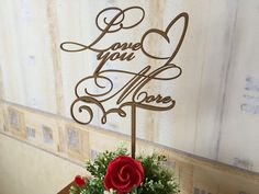 Rustic wedding cake topper Love you more cake by FranJohnsonHouse