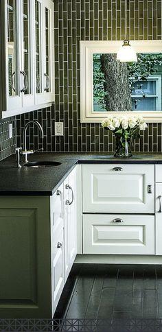 Gorgeous black and white kitchen cabinets! I love the black sideways subway tile backsplash! #ad
