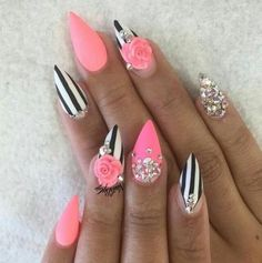 Why are stiletto nails so amazing? We have found the very Best Stiletto Nails for 2018 which you will find below. Having stiletto nails really makes you come off as creative and confident. You can be that fierce girl you always wanted to be! Fancy Nails, Bling Nails, Diy Nails, Pink Stiletto Nails, Fabulous Nails, Gorgeous Nails, Pretty Nails, Uñas Fashion, Super Nails
